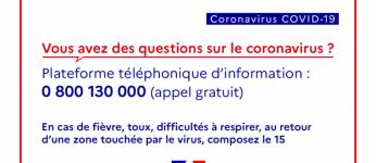 Coronavirus COVID-19 : des gestes simples pour préserver votre santé et celle de votre entourage